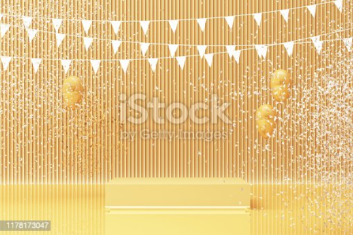 istock Podium on the floor and glossy balloons broken. Set of platforms for product presentation, mock up background in yellow tone color. 3d rendering 1178173047