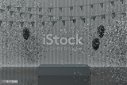 istock Podium on the floor and glossy balloons broken. Set of platforms for product presentation, mock up background in dark grey tone color. 3d rendering 1178173050