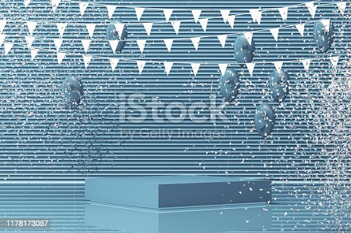 istock Podium on the floor and glossy balloons broken. Set of platforms for product presentation, mock up background in blue tone color. 3d rendering 1178173057