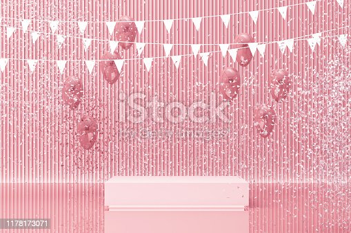 istock Podium on the floor and glossy balloons broken. Set of platforms for product presentation, mock up background in pink tone color. 3d rendering 1178173071