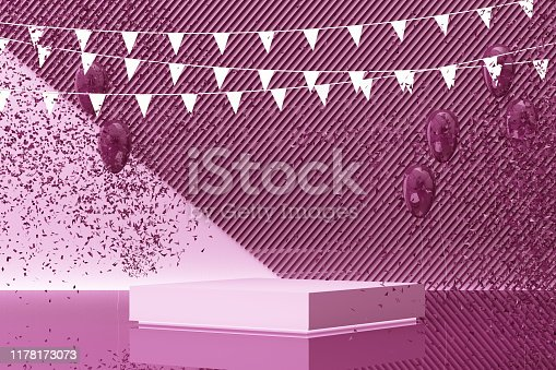 istock Podium on the floor and glossy balloons broken. Set of platforms for product presentation, mock up background in purple tone color. 3d rendering 1178173073