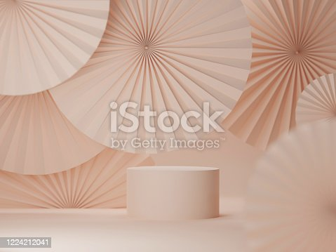 Cosmetics background with abstract asia paper fans. Stage for cosmetics products presentation