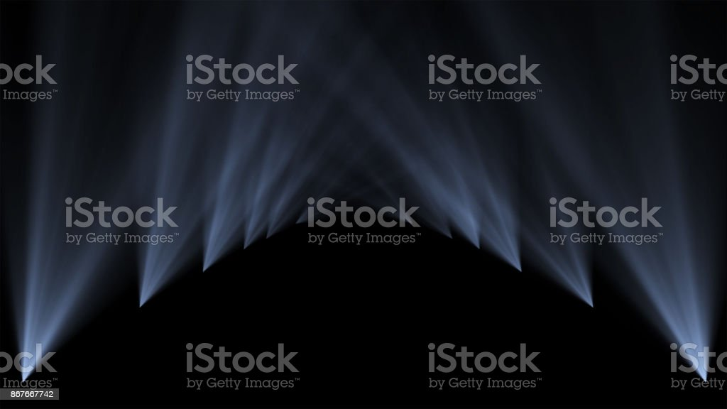 Podium, road, pedestal, stage or platform illuminated by scenic lights spotlights from the bottom vertical 3D illumination on black background. stock photo