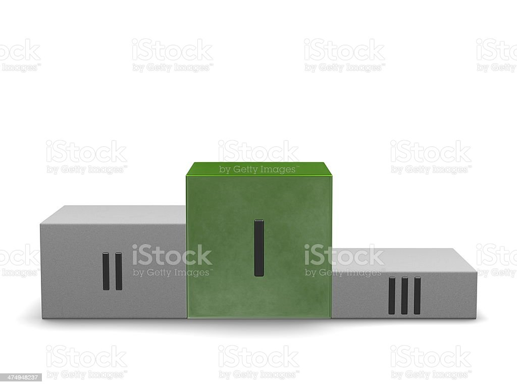 Podium, smoky green first cube, others of stone. Front view royalty-free stock photo