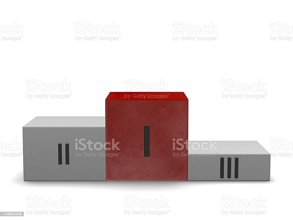 Podium, smoky red first cube, others of stone. Front view royalty-free stock photo