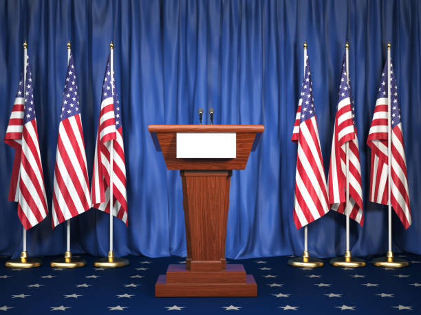 Podium speaker tribune with USA flags. Briefing of president of United states in White House. Politics concept. Podium speaker tribune with USA flags. Briefing of president of United states in White House. Politics concept. 3d illustration debate stock pictures, royalty-free photos & images