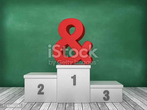 istock Podium with Ampersand Symbol on Chalkboard Background - 3D Rendering 1193562261