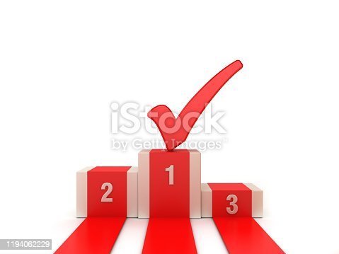 Podium with Check Mark - 3D Rendering