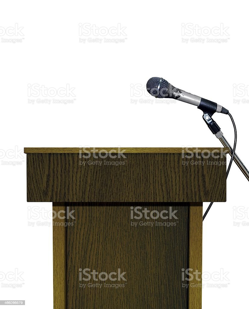 Podium with Microphone over White stock photo