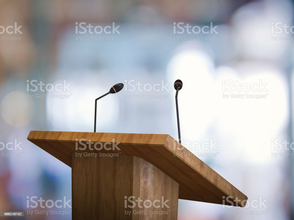 podium with microphone stock photo
