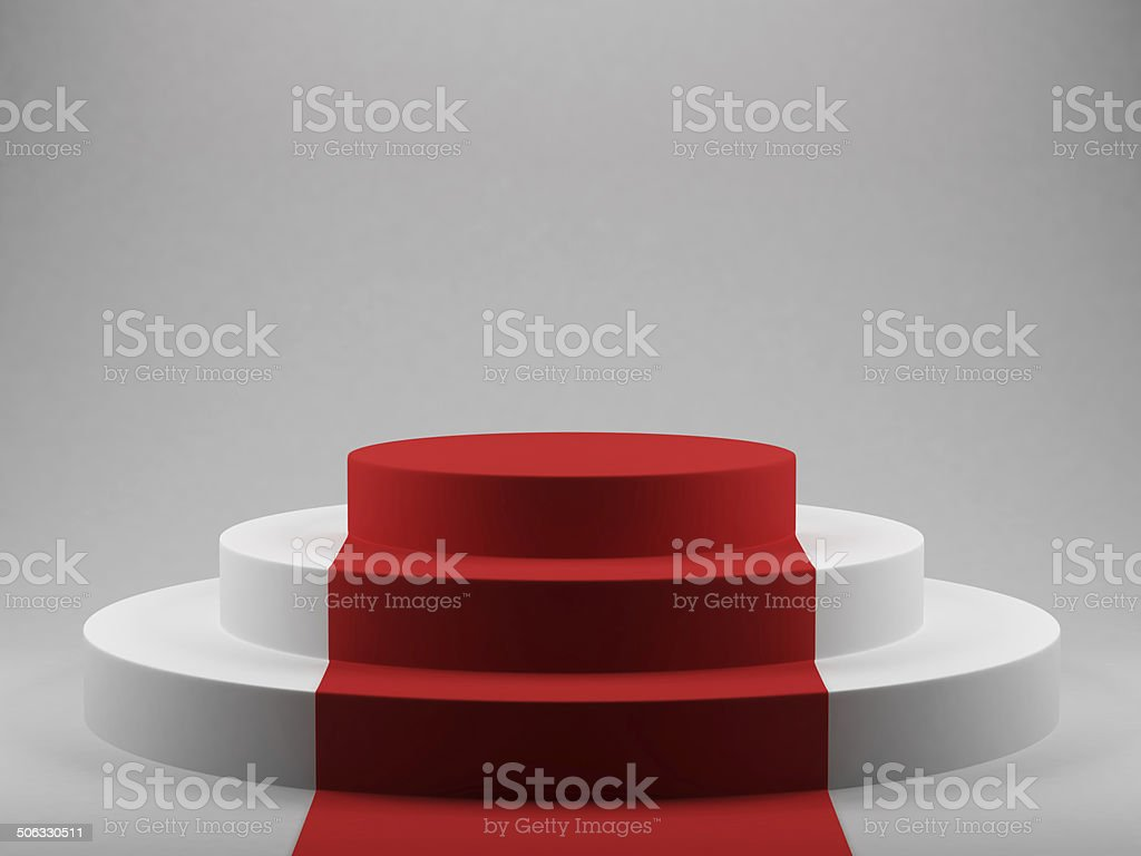 podium with red carpet stock photo