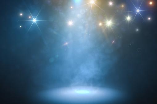 煙と青い光で表彰台を獲得3 D にはイラストが表示されます - 3Dのストックフォトや画像を多数ご用意