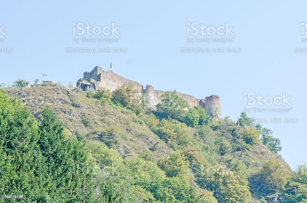 Poenari Castle, known as Poenari Citadel stock photo