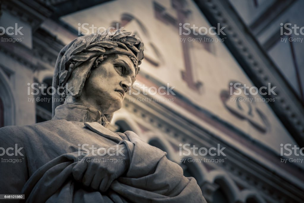 poet statue florence italy stock photo