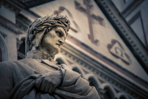 poet statue florence italy - dante alighieri foto e immagini stock