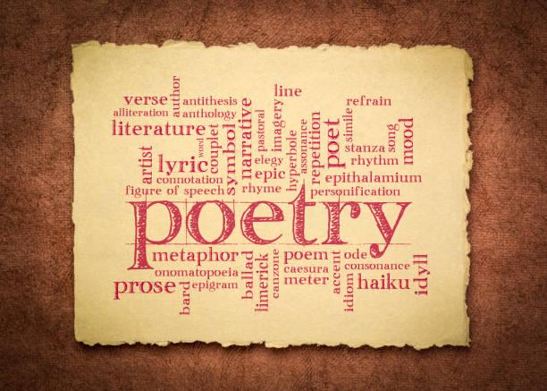 poetry word cloud on handmade rag paper stock photo