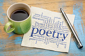 istock poetry word cloud on napkin with coffee 671888862