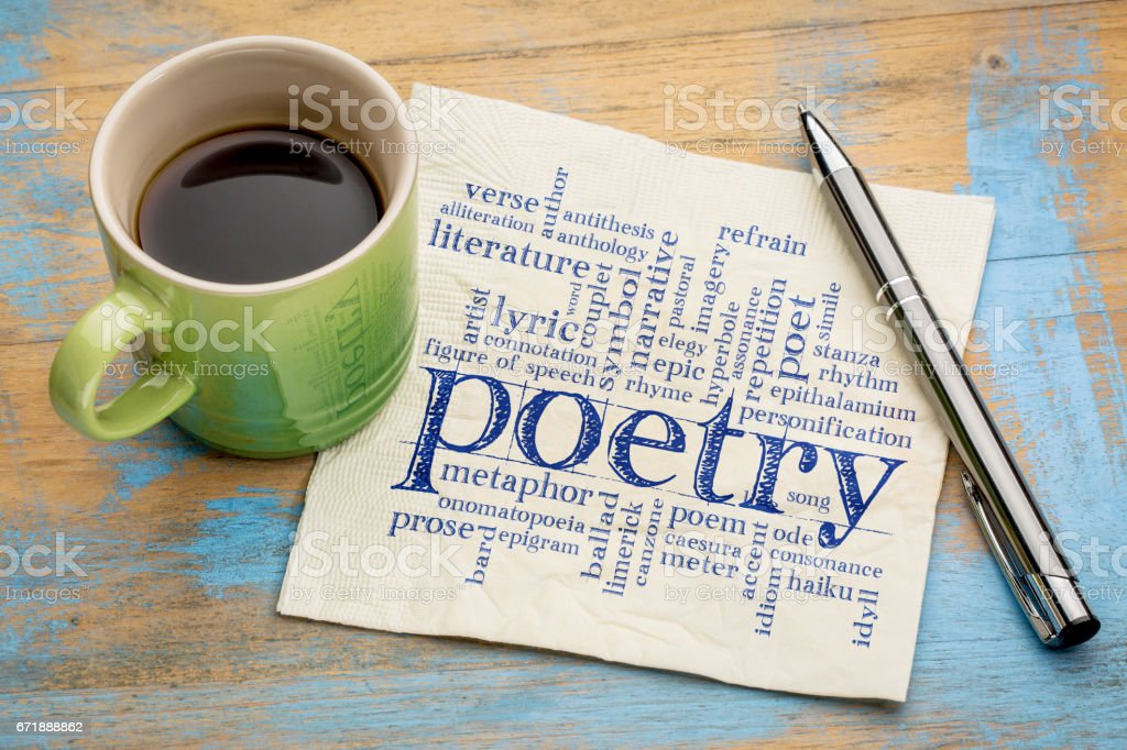 poetry word cloud on napkin with coffee stock photo