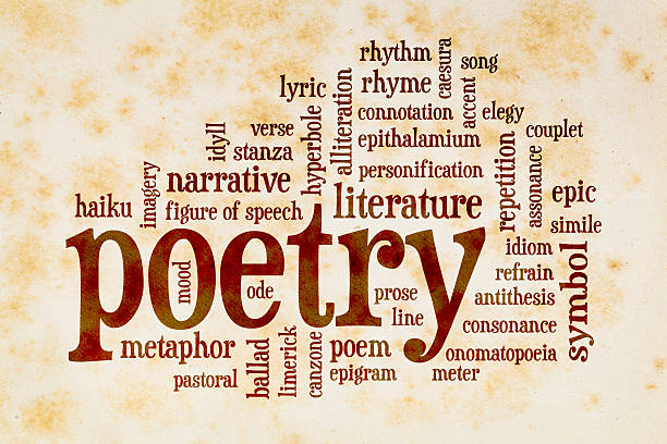 poetry word cloud on vintage paper - literature stock pictures, royalty-free photos & images