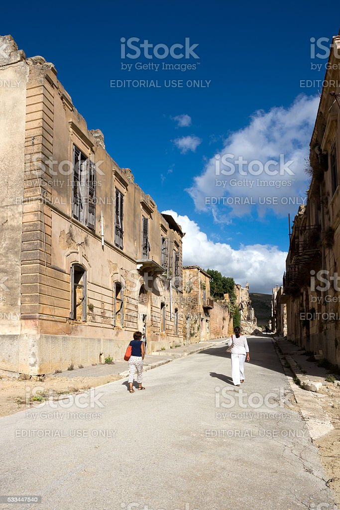 Poggioreale ghost-town, destroyed by the earthquake - Trapani province stock photo