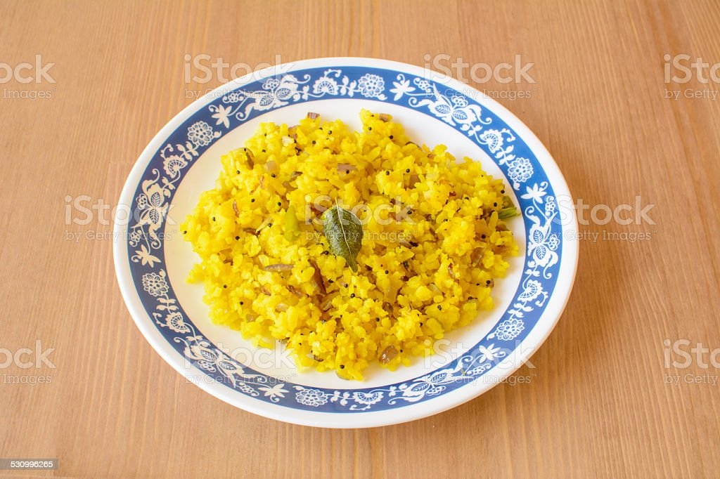 Poha, a breakfast item made of puffed rice stock photo