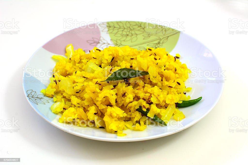 Poha, a popular breakfast item in India stock photo