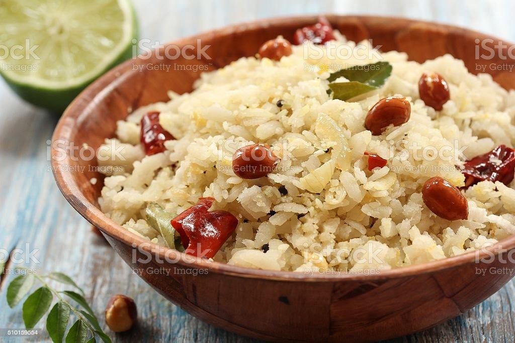 Poha Aval Upma Indian cuisine stock photo
