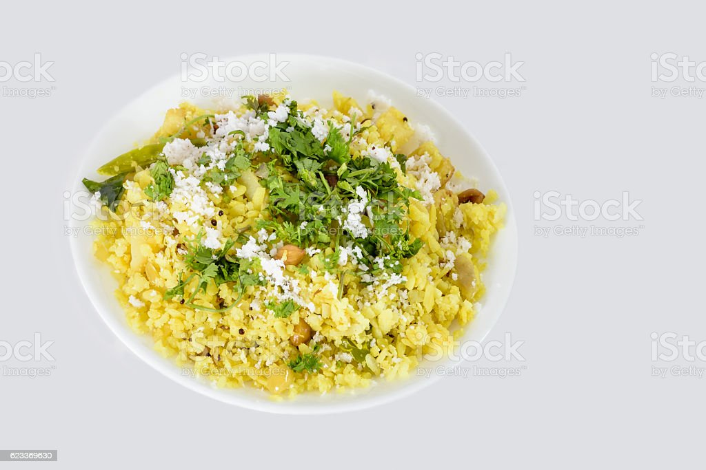 Poha or pohe Indian snack stock photo