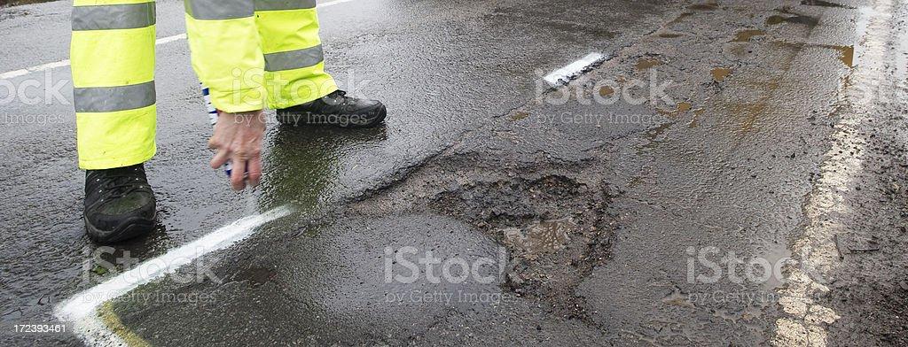 pohole marking stock photo