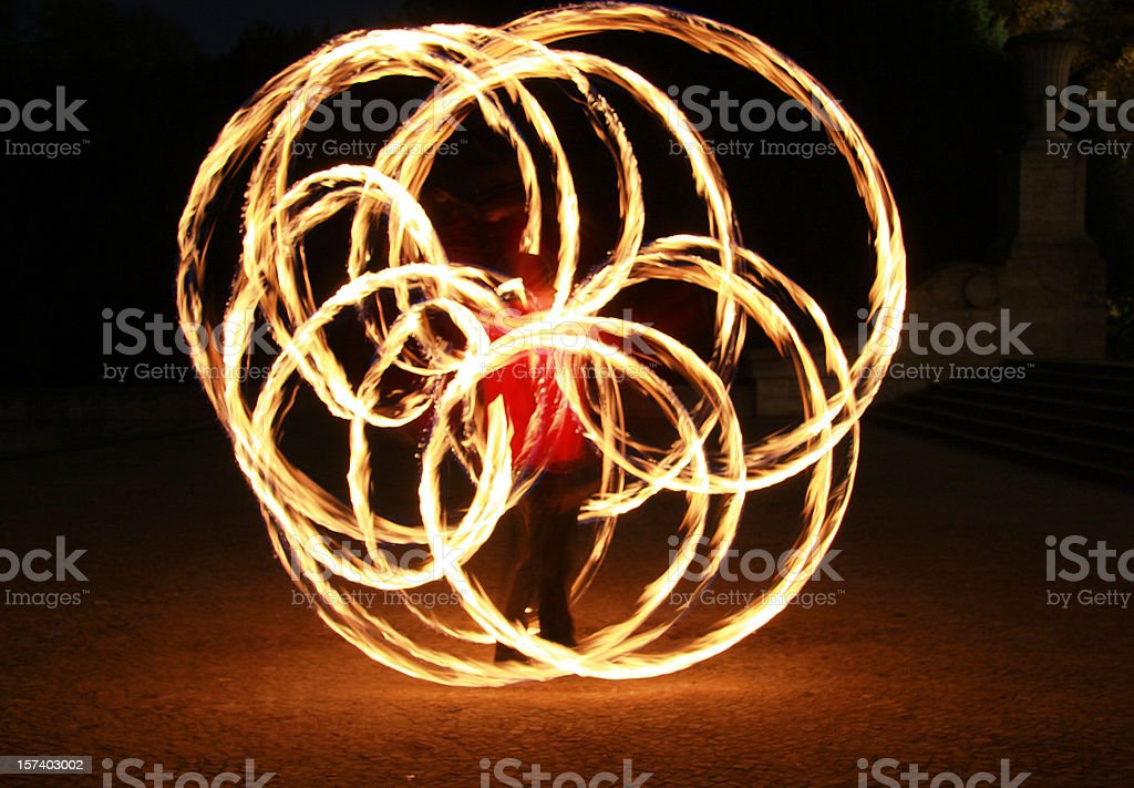 poi dancer showing a flower royalty-free stock photo