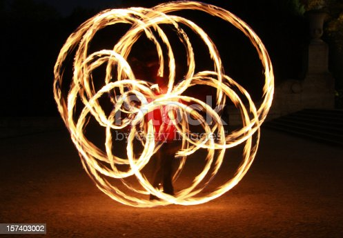 poi dancer showing the flower figure - night performance with fire based on old Maori tradition - now becoming a favourite sports activity among students