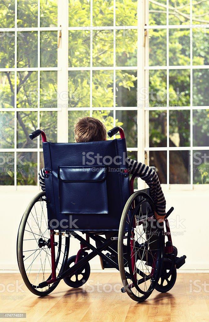 Poignant backview de little boy in para silla de ruedas, vista al jardín - foto de stock