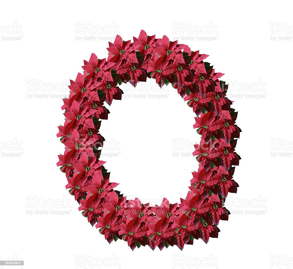 Poinsetia letter O royalty-free stock photo