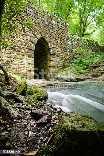 Flowing creek and moss covered rocks flowing through stone work bridge.