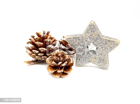 Poinsettia with pine cones Christmas decoration isolated on white background