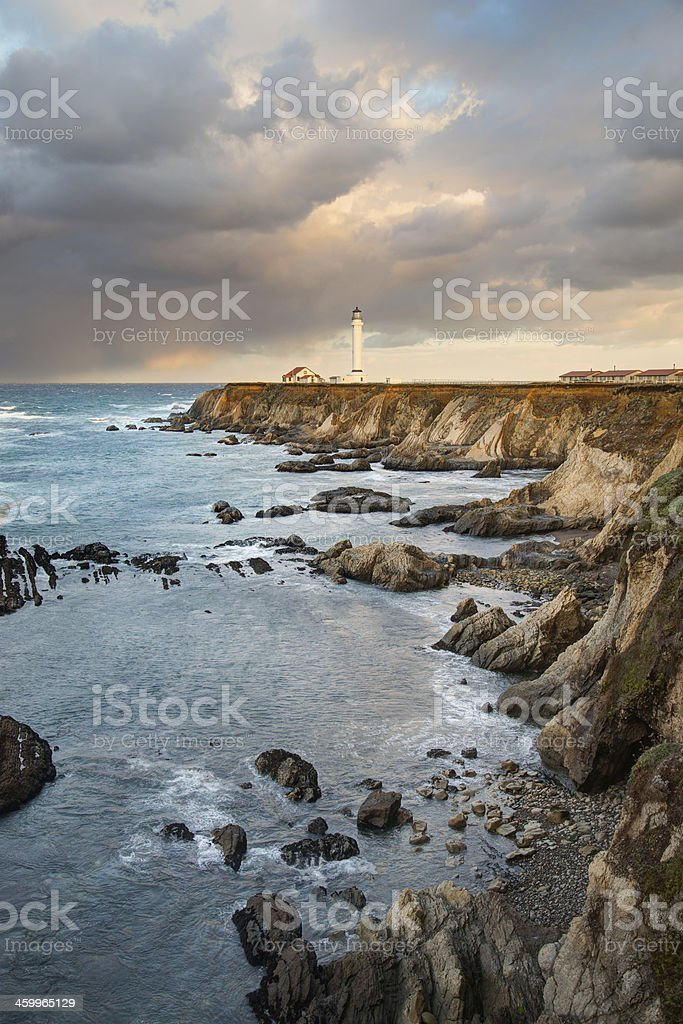 Point Arena Headland and Lighthouse royalty-free stock photo
