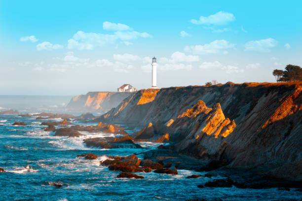 Point Arena Lighthouse, Northern California USA stock photo