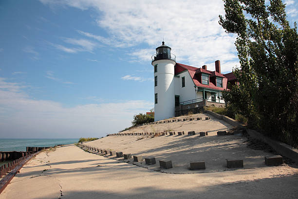 Point Betsie Lighthouse and Breakwater stock photo