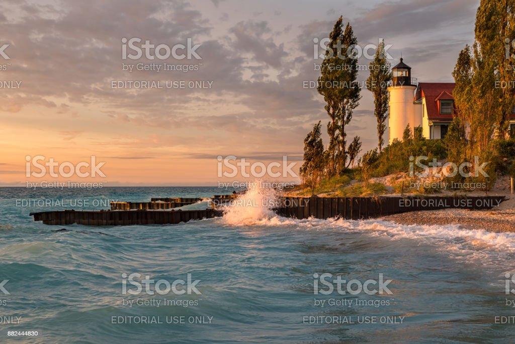 Point Betsie Lighthouse on Lake Michigan, at Sunset stock photo