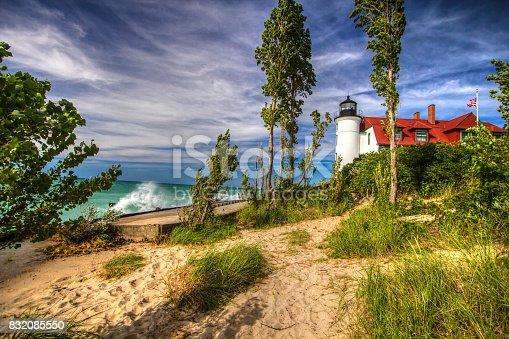177362898 istock photo Point Betsie Lighthouse On Lake Michigan 832085550