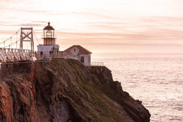 Point Bonita lighthouse at sunset. San Francisco, California. stock photo