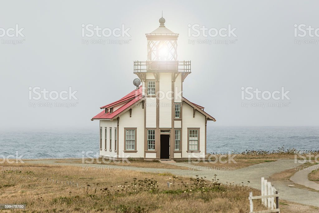 Point Cabrillo Lighthouse on the Lost Coast stock photo