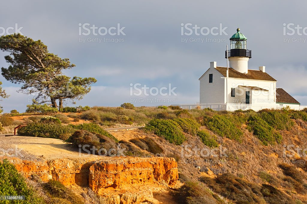 Point Loma Lighthouse on a cliff stock photo