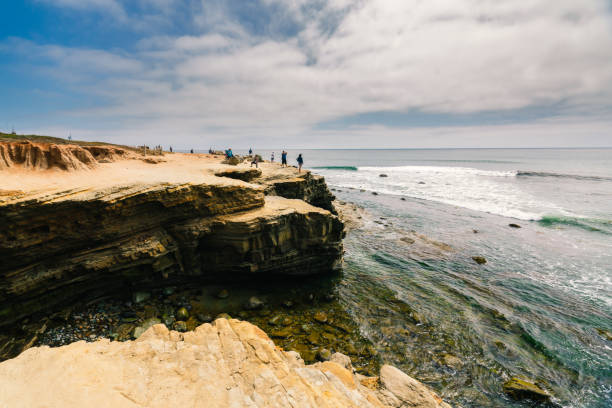 Point Loma tide pools and cliffs with cloudy sky background. San Diego peninsula stock photo