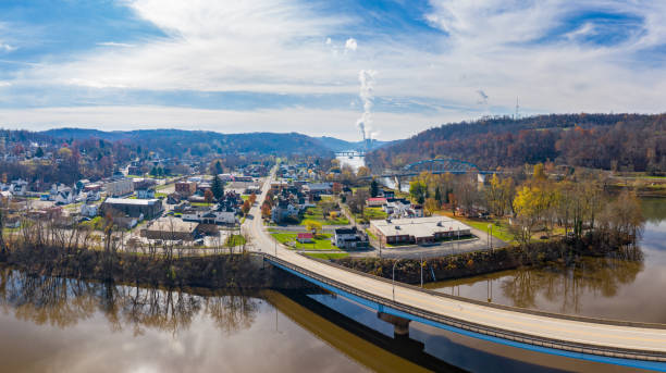 Point Marion from drone with Fort Martin coal power station on River Monongahela in the background stock photo