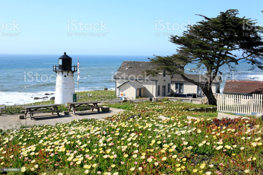 Point Montara Lighthouse, near CA Route 1 stock photo