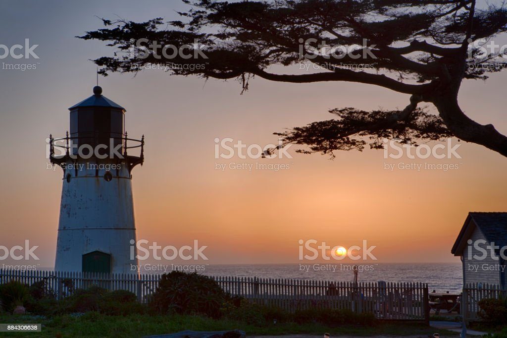 Point Montara Lighthouse sunset, near CA Route 1 stock photo