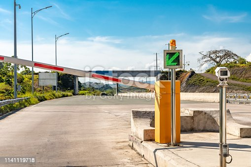 Point of entry for Toll Road. Green signal barrier opens to enter.