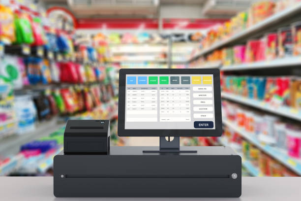 point of sale system for store management - store counter stock photos and pictures