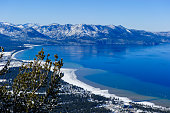 Point of view at south lake Tahoe, California. Winter season with snow cover at all.